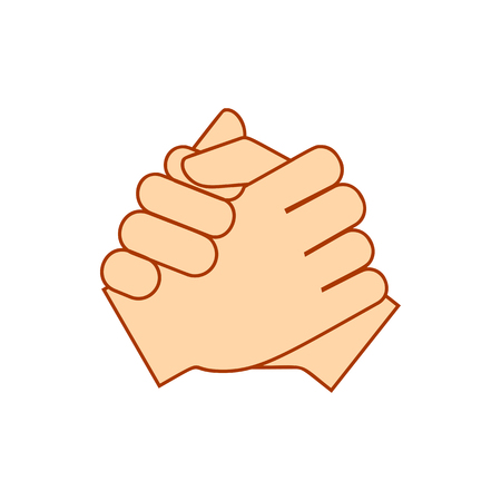 Keep hands showing different gestures. Cramped hand icon isolated on white background. Vector illustration