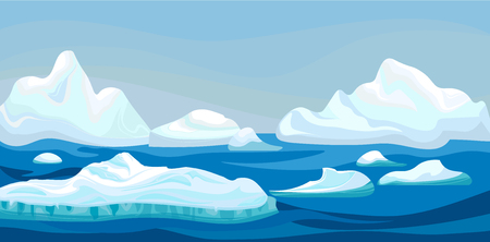 Cartoon arctic iceberg with blue sea, winter landscape. Scene game concept Arctic Ocean and snow mountains. Vector nature background illustration