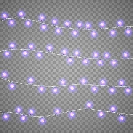Christmas violet garlands isolation on transparent background. Xmas realistic overlay lights card. Holidays decorations bright lamps. Vector gloving garland illustration