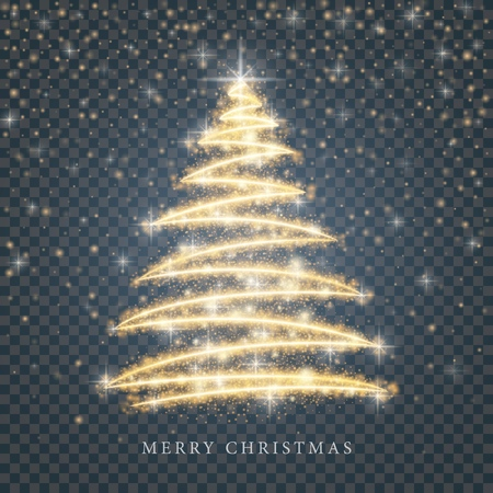 Stylized gold Merry Christmas tree silhouette from shiny circle particles on black transparent background. Vector golden christmas fir illustration eps10 Illustration