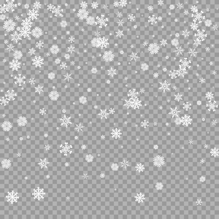 Realistic falling white snow overlay on transparent background. Snowflakes storm layer. Snow pattern for design. Snowfall backdrop texture. Vector illustration  イラスト・ベクター素材