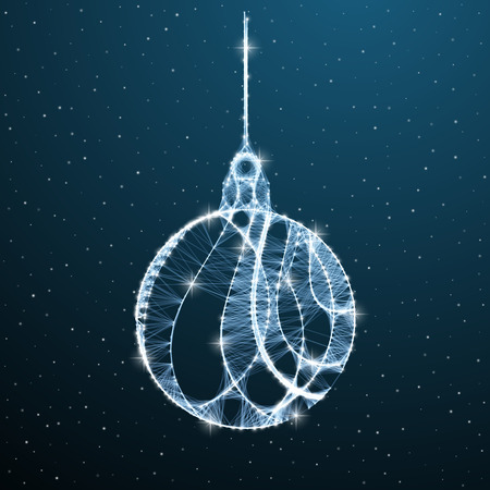 Christmas balls low poly decoration on blue background with star and snow. Polygonal ball christmas tree decorative symbol. Vector wireframe winter holiday geometric design
