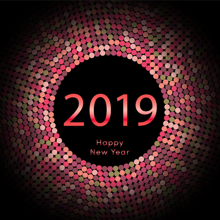 Red discoball New Year 2019 greeting poster. Happy New Year circle disc with particle. Glitter gray dot pattern. Vector illustration