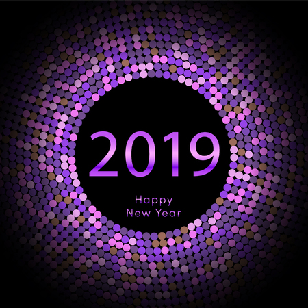 Purple discoball New Year 2019 greeting poster. Happy New Year circle disc with particle. Glitter gray dot pattern. Vector illustration Illustration