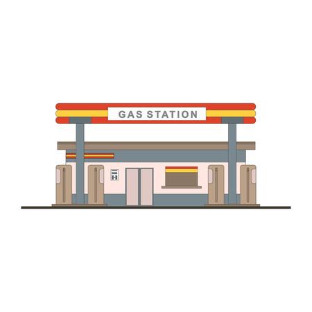 Cartoon detailed flat design gas filling service building station for game design. Gasoline and oil transport station shop. Vector illustration eps10