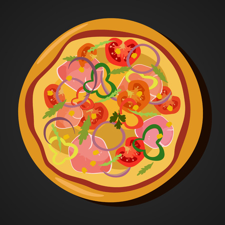 Flat hot pizza icons isolated on white, pepperoni . Vector Illustration