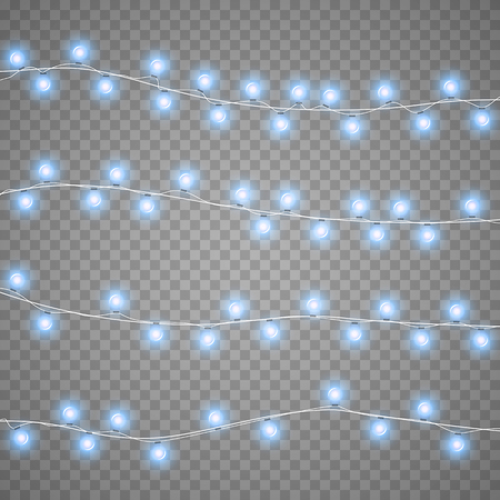 Christmas garlands isolation on transparent background. Xmas realistic overlay lights card. Holidays decorations bright lamps. Vector gloving garland illustration.