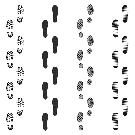 Black dirty isolated footprint track steps. Sport footprint shoes set. Vector set footprint icon in flat style illustration
