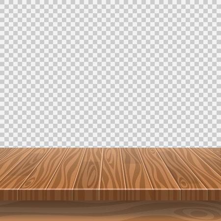 Leerer Holztisch für Produktplatzierung oder Montage mit Fokus auf die Tischplatte, mit isoliertem weißem Hintergrund. Vektor-Illustration