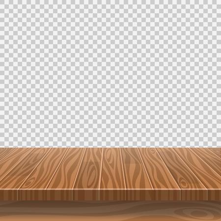 Mesa de madera vacía para colocación de productos o montaje con enfoque en la parte superior de la mesa, con fondo blanco aislado. Ilustración vectorial