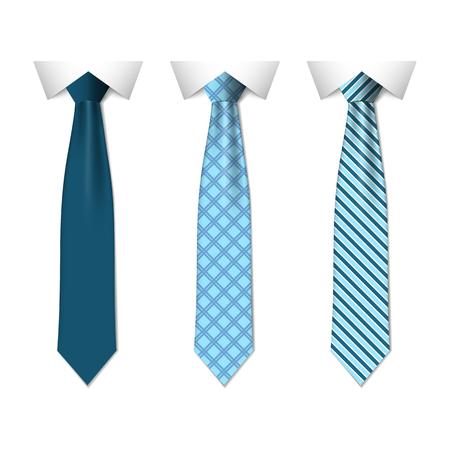 Impostare diversi legami blu isolati su sfondo bianco. Cravatta colorata per uomo. Illustrazione vettoriale semplice eps10