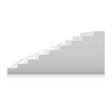 White stairs template set. Interior staircases in cartoon style isolated on white background. Home modern staircase concept. Vector 3d staircase illustration eps10