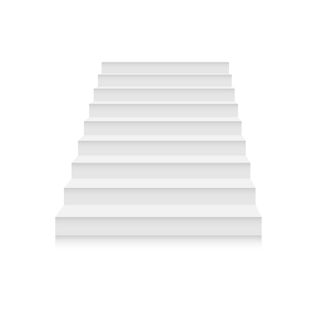 White stairs template set. Interior staircases in cartoon style isolated on white background. Home modern staircase concept. Vector 3d staircase illustration eps10 Illustration