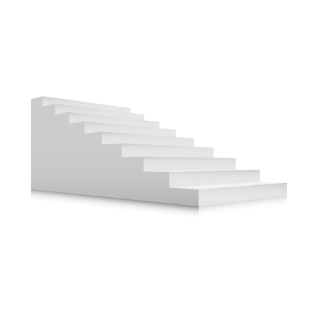 White stairs template. Interior staircases in cartoon style isolated on white background. Home modern staircase concept. Vector 3d staircase illustration eps10