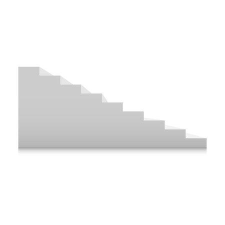 White stairs template set. Interior staircases in cartoon style isolated on white background. Home modern staircase concept. Vector 3d staircase illustration eps10 Ilustração