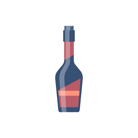 Bottle glass whiskey flat design. Vector illustration eps10 Illustration