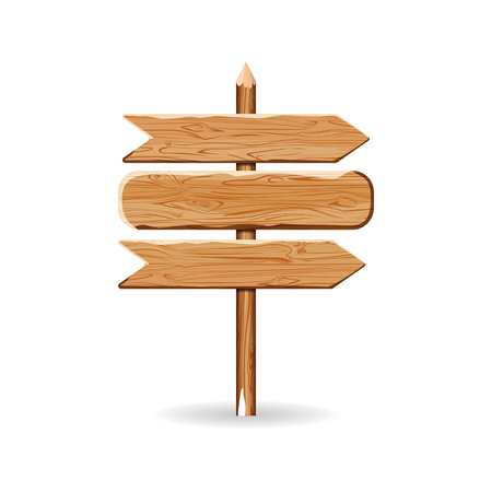 Wooden arrow signs board set. Vector illustration wood signboards plank road