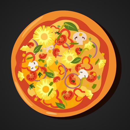 Flat hot pizza icons isolated on white, pepperoni . Vector Ilustração