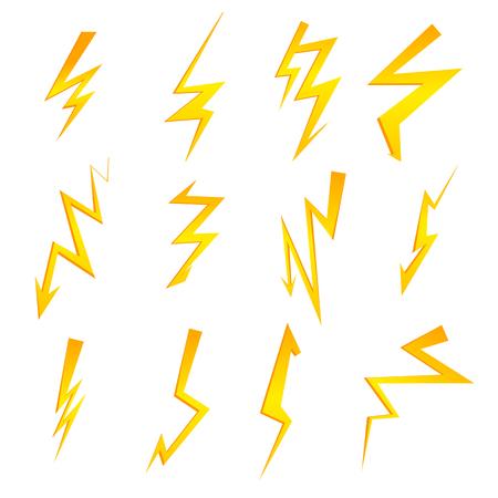 Set of cartoon isolated lightnings on black for design. Thunder-storm and lightnings. Vector eps10