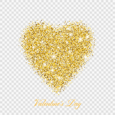 Valentijnsdag goud glitter glanzend hart. Vector illustratie liefde hartsymbool geïsoleerd op transparante background Vector Illustratie