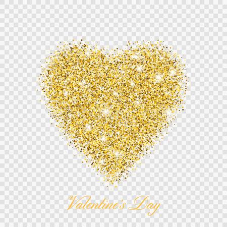 Valentine day gold glitter shiny heart. Vector illustration love heart symbol isolated on transparent background Vetores