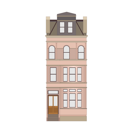 Cartoon historical pink building icon highly detailed city front facade. Vector illustration