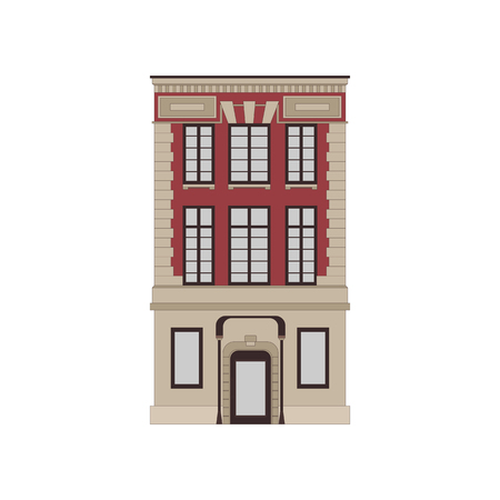 Cartoon historical red building icon highly detailed city front facade. Vector illustration