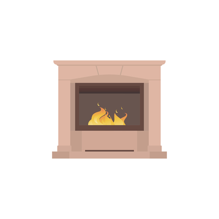 Home fireplace to paste in the interior of the house for computer games. Vector illustration isolated on white background eps10 Illustration