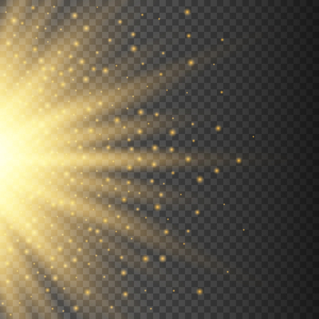 Gold glowing half light burst explosion on transparent background. Bright yellow flare effect decoration with ray sparkles. Transparent shine gradient glare texture. Vector illustration lights effect Illustration