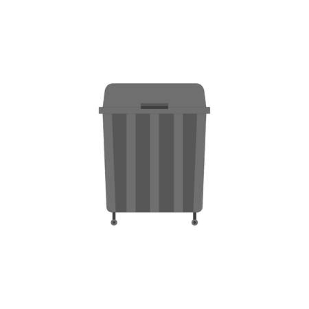 Garbage can icon in flat style. Black trash can isolated on white background. Vector rubbish bag