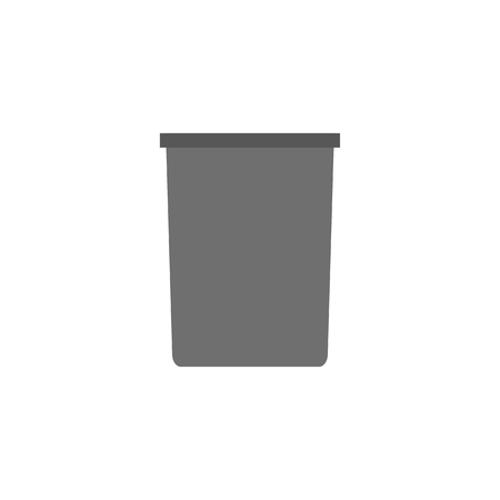 Garbage can icon in flat style. Black trash can isolated on white background. Vector trash bag Ilustração