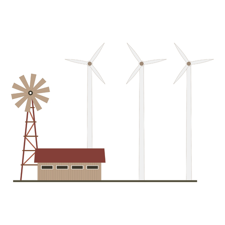 Alternative electric eco farm. Vector illustration Standard-Bild - 124833536