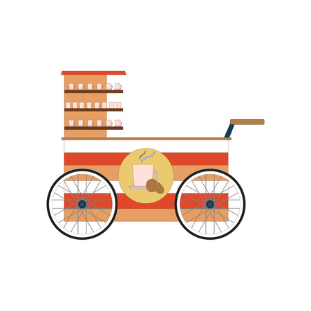 Street food vendor bicycle icon isolated on a white background. Vector illustration