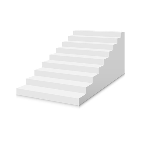 White stairs template. Interior staircases in cartoon style isolated on white background. Home modern staircase concept. Vector 3d illustration eps10 Stockfoto - 124833540