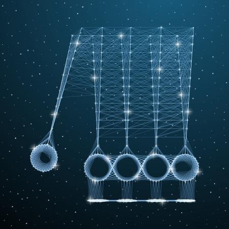 Newton's polygonal balls. Vector low poly cradle illustration