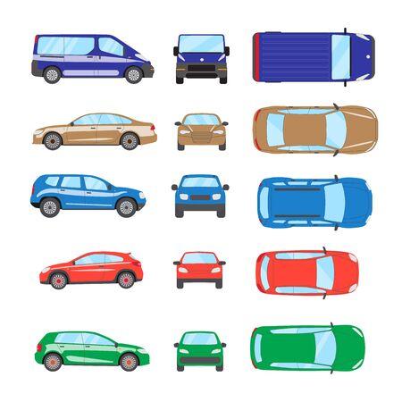 Different transportation car. Sedan car, hatchback, universal car, suv, van, mini car set. Vehicle collection in top, front, side view. Auto concept cartoon design. Vector illustration