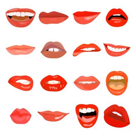 Female lips set on sweet passion. Lip design element lust makeup mouth. Vector print cosmetic sensuality desire tongue out. Smile woman red sexy doodle lips Standard-Bild - 129794235