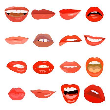 Labbra femminili impostate su una dolce passione. Bocca per il trucco dell'elemento di design delle labbra. Stampa vettoriale desiderio di sensualità cosmetica con la lingua fuori. Sorriso donna rosso doodle labbra Vettoriali