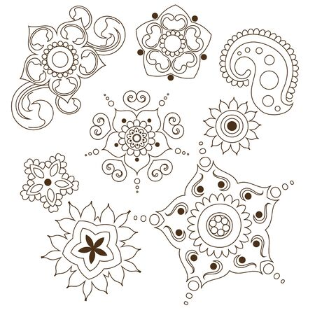 Mehndi flower indian pattern isolated on white background design for henna drawing or tattoo. Vector ornament