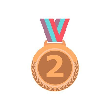 Bronze medal with ribbon. Sport game award 2 place badge isolated on white background. Vector illustration Ilustração