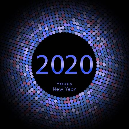 Happy New Year 2020 dot background. Calendar decoration. Greeting card. Chinese calendar template for the year of mouse. Vector illustration