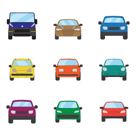 Different transportation car. Sedan car, hatchback, universal , suv, cabriolet, mini car set. Vehicle collection in front view. Auto concept cartoon design. Vector illustration