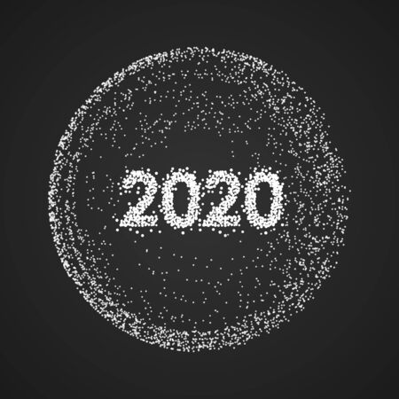 Abstract 2020 new year mesh background. Futuristic style card. Elegant dots background for business presentations. Vector illustration Illusztráció