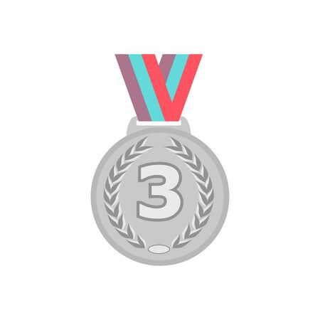 Silver medal with ribbon. Sport game award 3 place badge isolated on white background. Vector illustration Ilustração