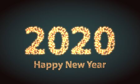 Happy new year 2020 creative greeting card  design in circles dots. Flat design particle poster on green background Illusztráció
