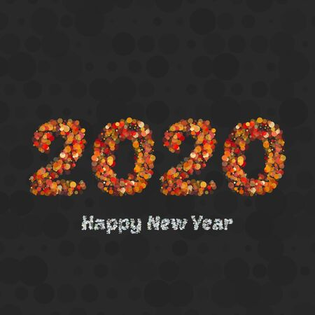 Happy new year 2020 creative greeting card  design in gold circles dots. Flat design poster on black background. Vector illustration