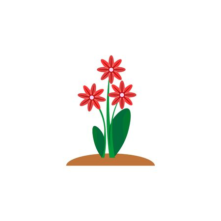 Summer and spring blossom forest and garden red flowers isolated on white background. Nature springtime flower. Vector illustration