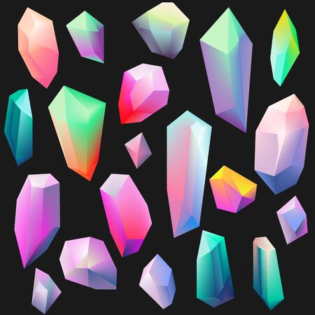 Colorful gemstones isolated on black. Crystal icon collection. Vector illustration