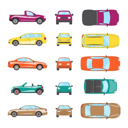 Different transportation car. Sedan car, hatchback, universal car, suv, cabriolet, mini car set. Vehicle collection in top, front, side view. Auto concept cartoon design. Vector illustration