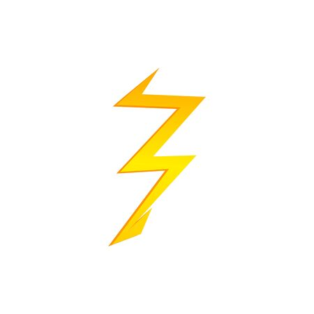 Lighting thunder bolt flash yellow icon set in flat style isolated on white background. Illustration